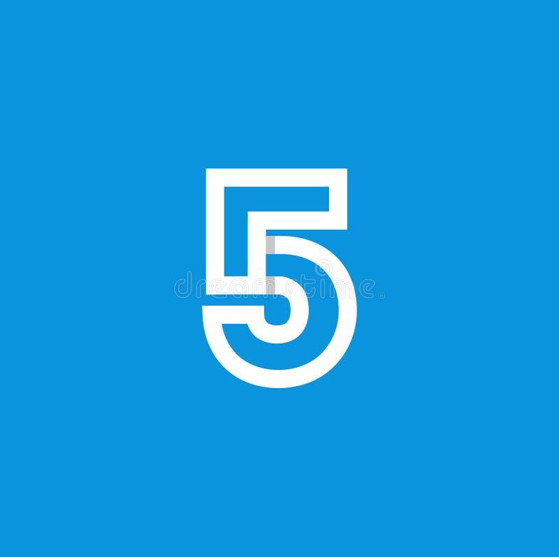 Weiß Vektor-Logo Numbers 5 stock abbildung