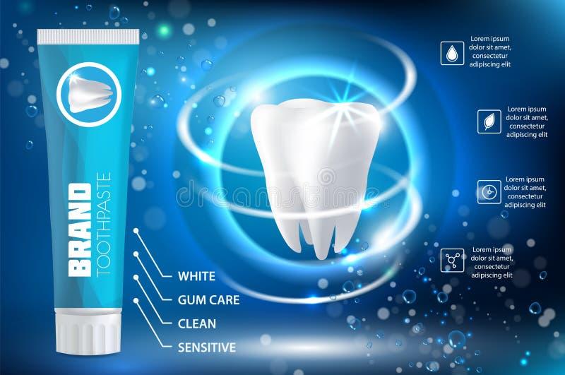 Weiß werden der realistischen Illustration des Zahnpastaanzeigen-Vektors vektor abbildung