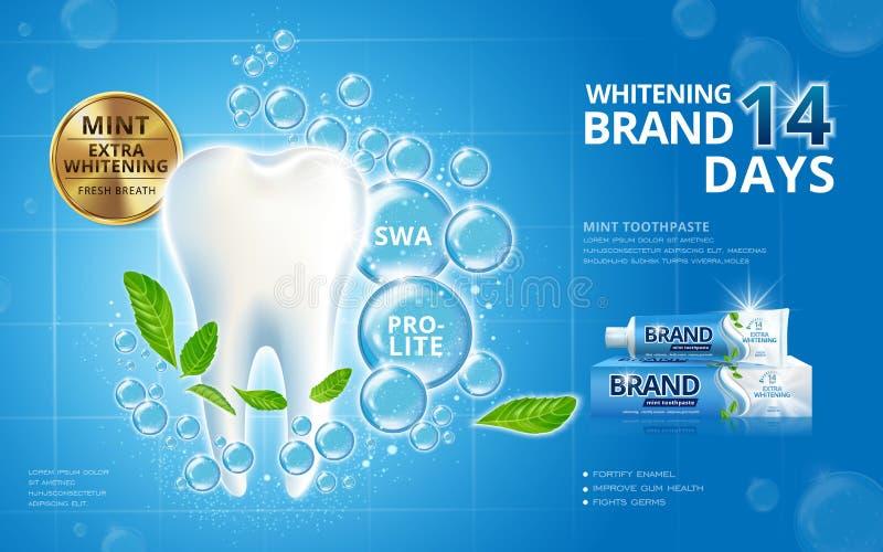 Weiß werden von Zahnpastaanzeigen stock abbildung
