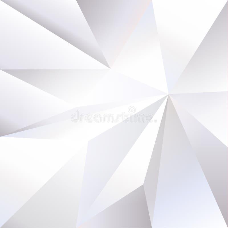 Weiß zerknitterte Papier-Monochromtapete des Dreiecks 3D stock abbildung
