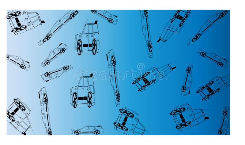 Weiß zum blauen Hintergrund mit vielen weg von den Straßenautos - Vektorillustration lizenzfreie abbildung
