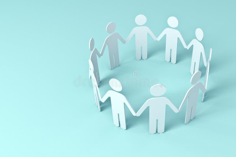 Weißbuch-Leute-Händchenhalten im Kreis auf blauem Hintergrund vektor abbildung