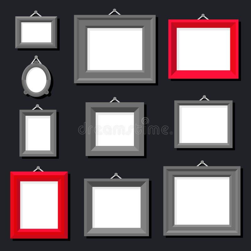 Weißbuch-Rahmen-Foto-Bild-Art Painting Decoration Drawing Symbol-Schablonen-Ikonen-gesetzter stilvoller schwarzer Hintergrund Ret vektor abbildung