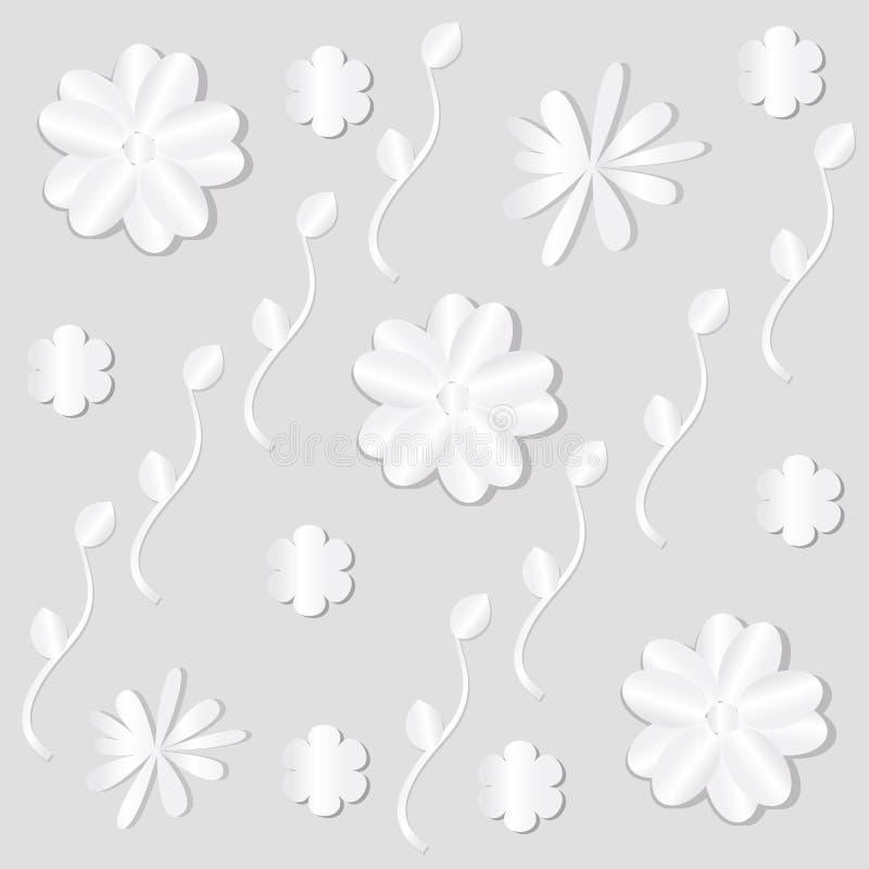 Weißbuchblumen auf heller Hintergrunddekor Tapete lizenzfreie abbildung
