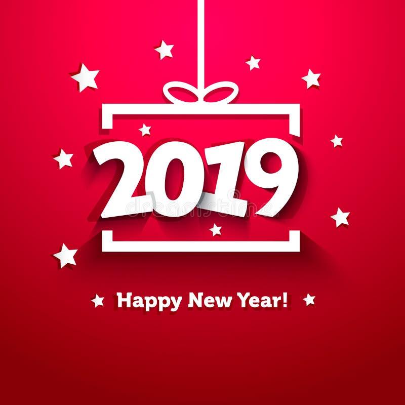 Weißbuchgeschenkbox mit Grußkarte des neuen Jahres 2019 stock abbildung