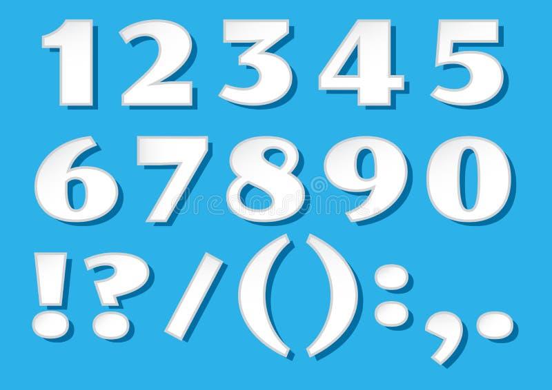 Weißbuchgusszahlen mit Schatten von 1 bis 0 und Charaktere auf blauem Hintergrund Vektor vektor abbildung