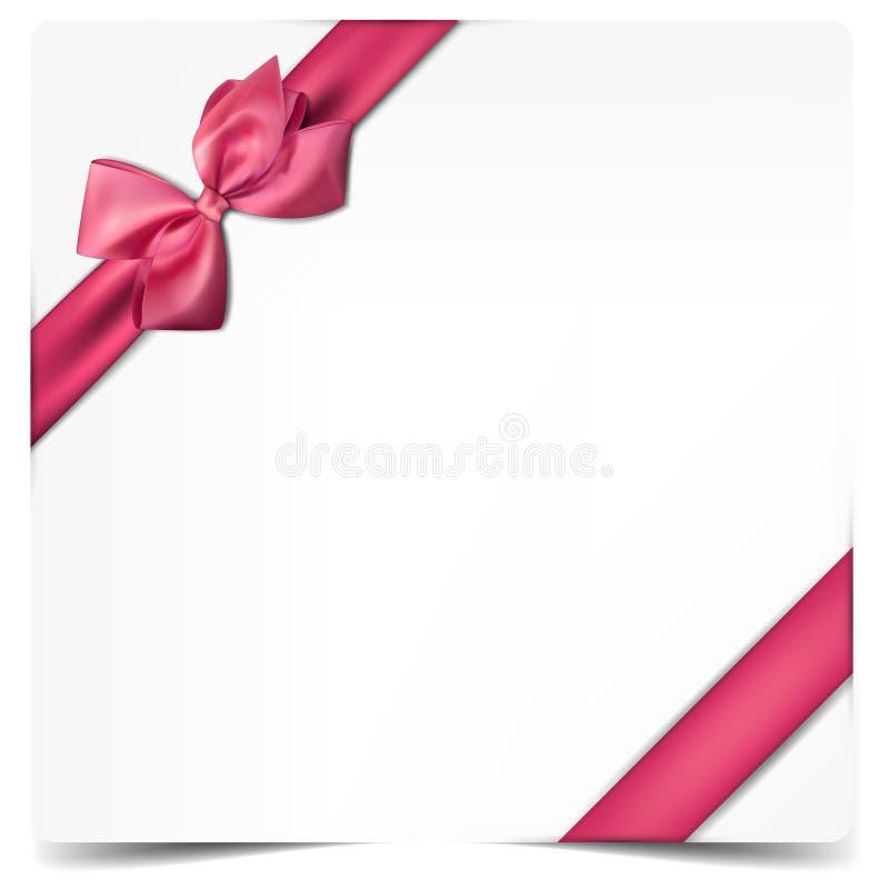 Weißbuchkarte mit Geschenkrosa-Satinbogen. stock abbildung