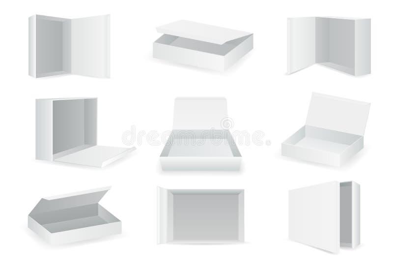 Weißbuchpapppaketkästen, die isometrischer offener leerer Satzkasten Ikonen lokalisierte, stellten realistischen Schablonenentwur lizenzfreie abbildung