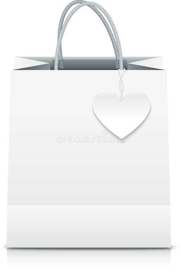 WeißbuchvektorEinkaufstasche mit Herzaufkleber lizenzfreie abbildung