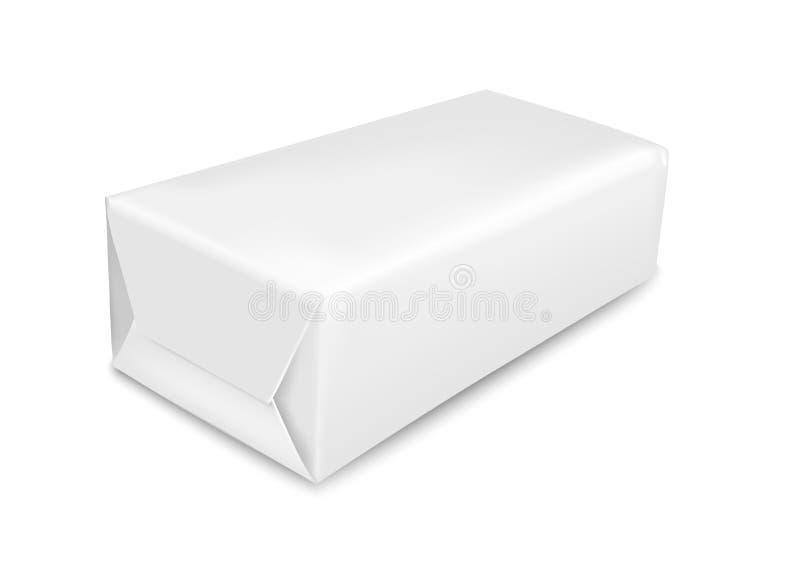 Weißbuchverpackung lokalisiert auf weißem Hintergrund Kissen für Seife, Kaffee, Gewürze, Bonbons, Plätzchen und Mehl lizenzfreie abbildung
