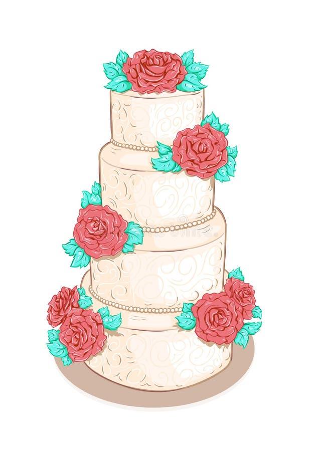 Weiße überlagerte Hochzeitstorte mit Blumen stock abbildung
