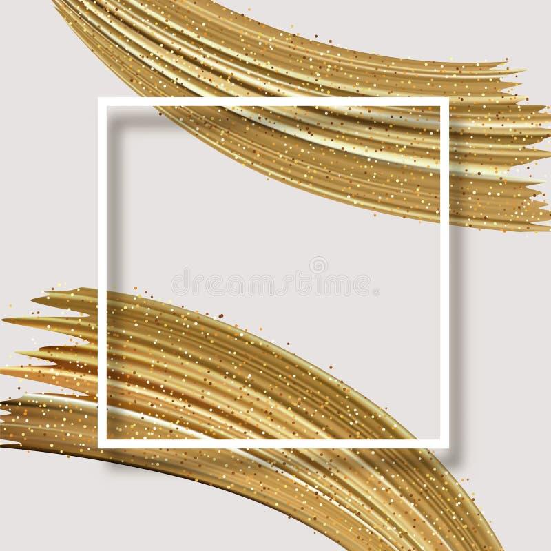 Weiße abstrakte Karte mit quadratischem Rahmen und goldenem glänzendem Bürstenstr lizenzfreie abbildung
