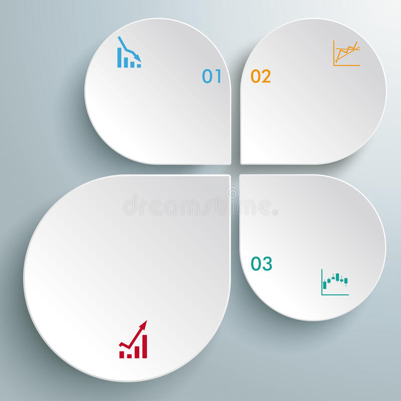 Weiße abstrakte Tropfen-Diagramme PiAd Infographic vektor abbildung
