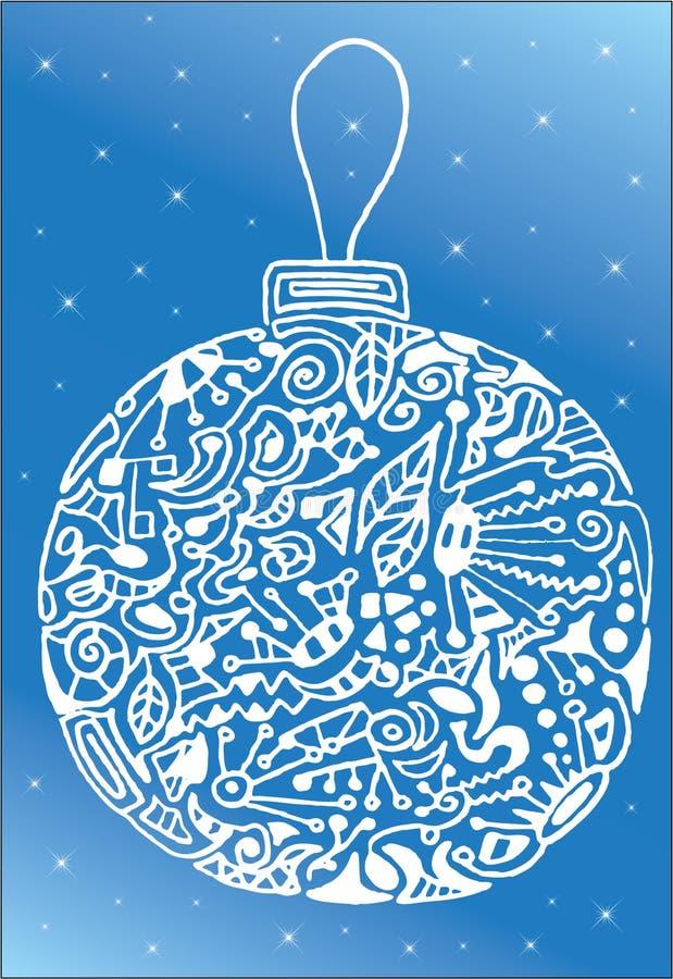 Weiße abstrakte Weihnachtskugel lizenzfreie abbildung