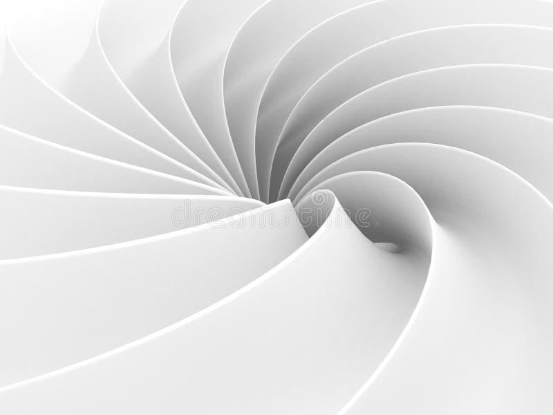Weiße abstrakte Wellen-Spiralen-geometrischer Hintergrund stock abbildung