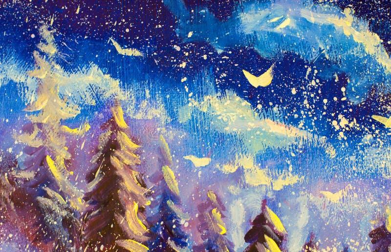 Weiße Abstraktionen vor dem hintergrund des Nachtblau-violetten Himmels Schnee fällt, Weihnachten, Märchen, ein ursprüngliches Tr stock abbildung