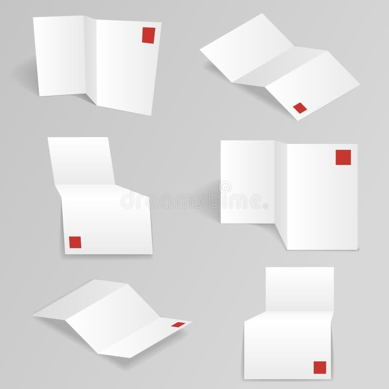 Weiße Akkordeonpapierverschiedene ansichten verspotten oben vektor abbildung