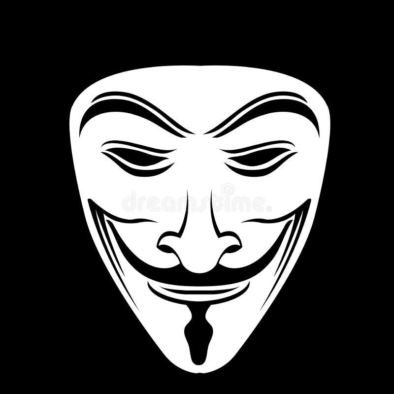 Weiße anonyme Maske im schwarzen Hintergrund stock abbildung