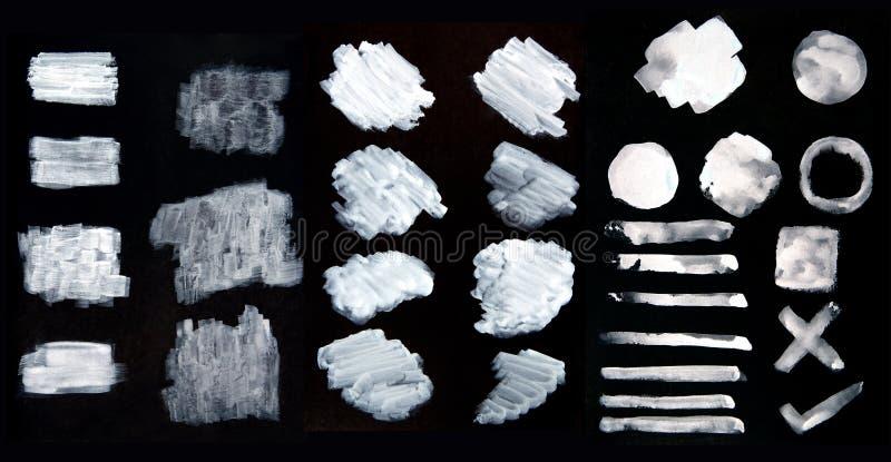 Weiße Aquarellbürstenschlagmänner, abstrakte Pinselschlagmänner, Satz weiße Farbbürstenflecke, Anschläge des weißen mit T vektor abbildung