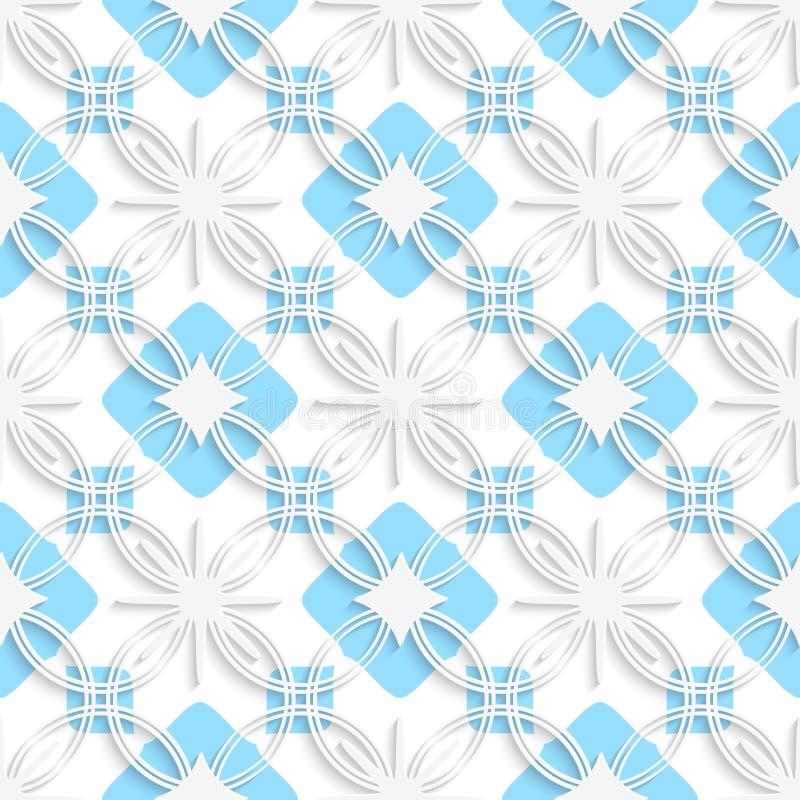 Weiße ausführliche Verzierung überlagerte auf flachem blauem nahtlosem stock abbildung