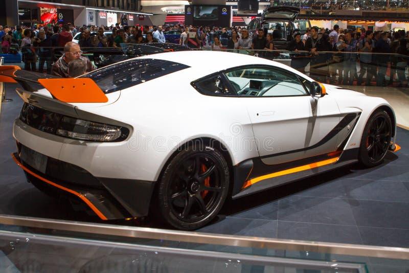Weiße Autoausstellung Astons Martin Vantage GT3 Genf 2015 stockbilder
