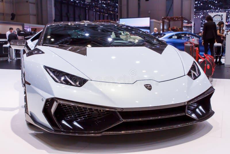 Weiße Autoausstellung Lamborghinis Huracan Genf 2015 stockbilder