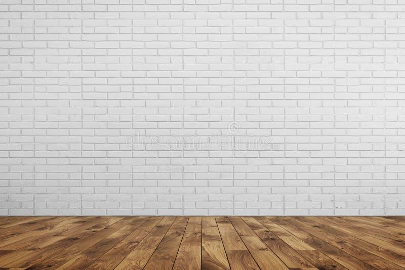 Weiße Backsteinmauer des leeren Raumes, brauner Holzfußboden vektor abbildung