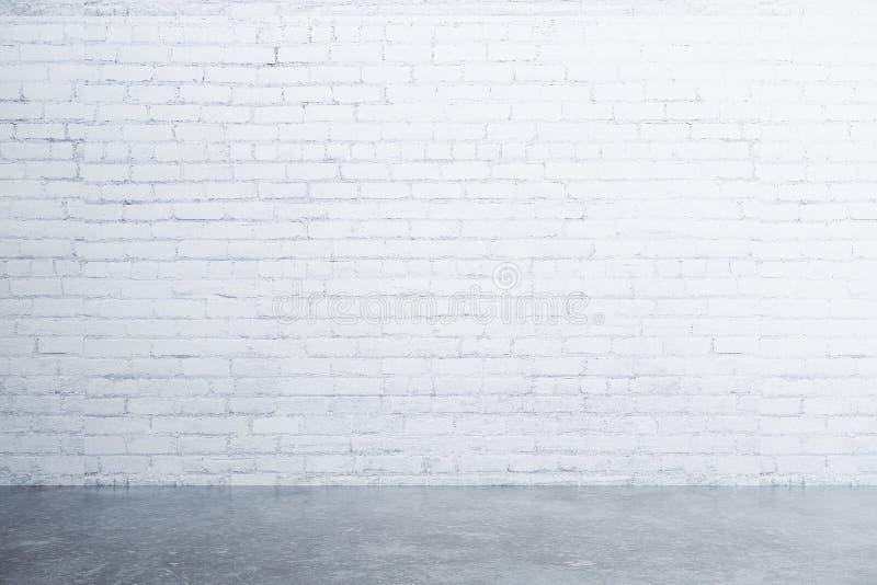 Weiße Backsteinmauer und konkreter Boden im leeren Raum vektor abbildung