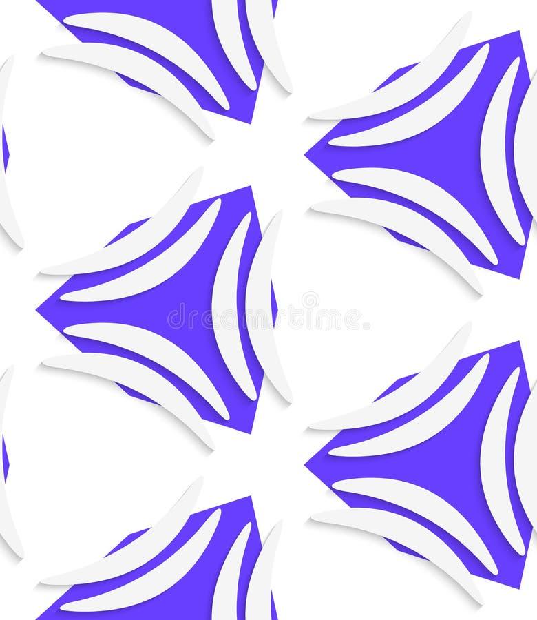 Weiße Banane formt auf nahtloses Muster der Purpurformen lizenzfreie abbildung