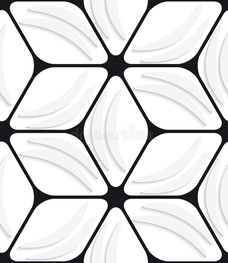 Weiße Bananenformen und nahtloses Muster des schwarzen Hexagonnetzes stock abbildung