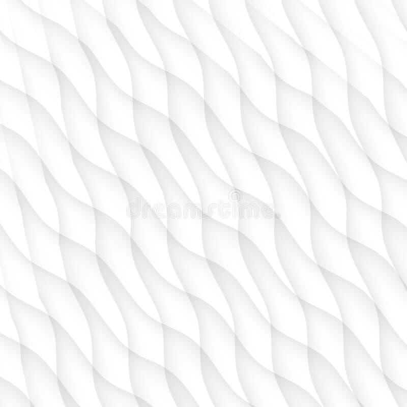 weiße Beschaffenheit Abstraktes Muster nahtlos gewelltes geome Natur der Welle lizenzfreie abbildung