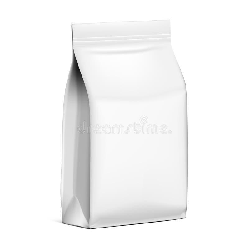 Weiße Beutel-Snack-Kissen-Tasche Papierverpackung mit Reißverschluss lizenzfreie abbildung