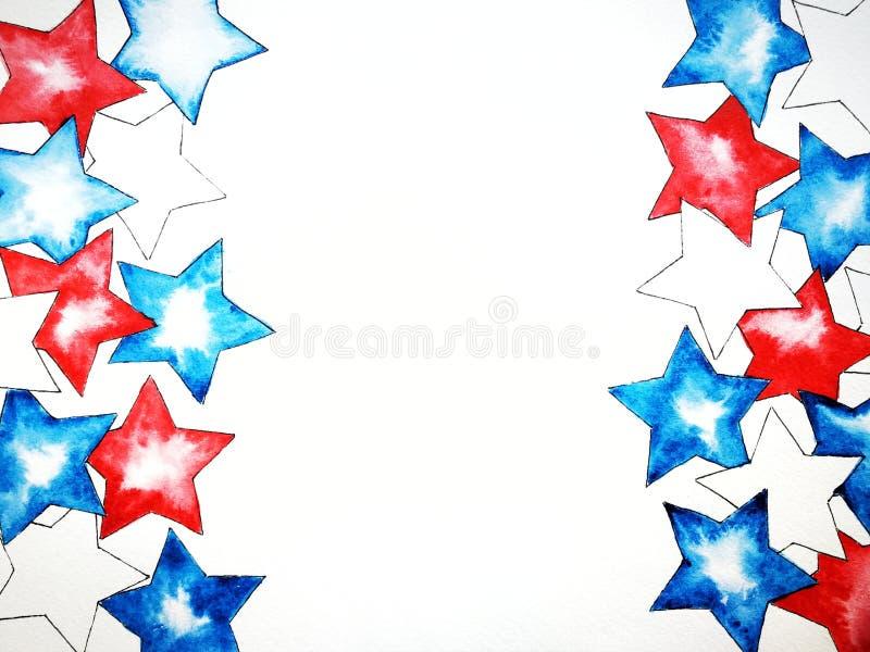 Weiße blaue rote Sterne, Aquarell, Unabhängigkeitstag, nationale Farben von Flaggen, copyspace, das Konzept von Patriotismus vektor abbildung