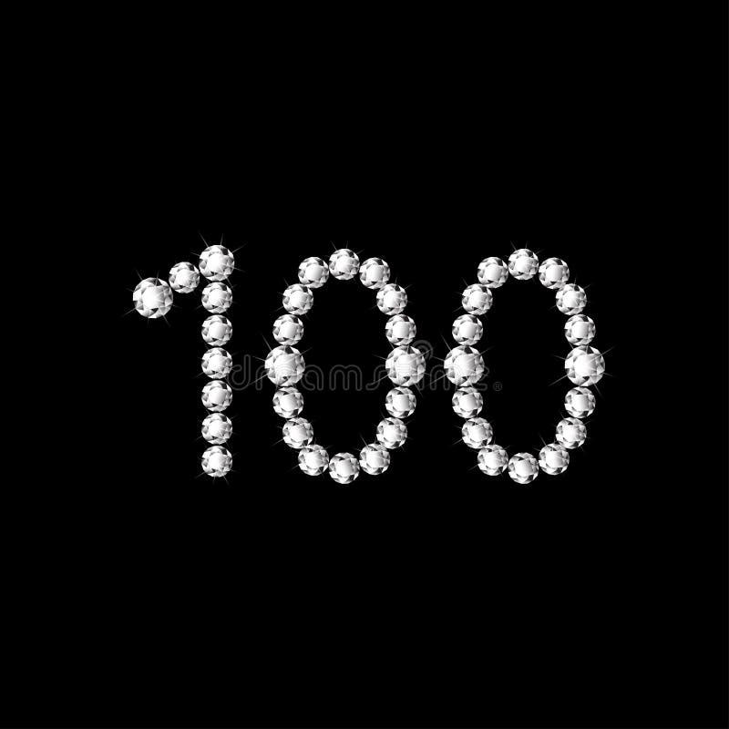 Weiße bling Diamanten der Nr. 100 stock abbildung