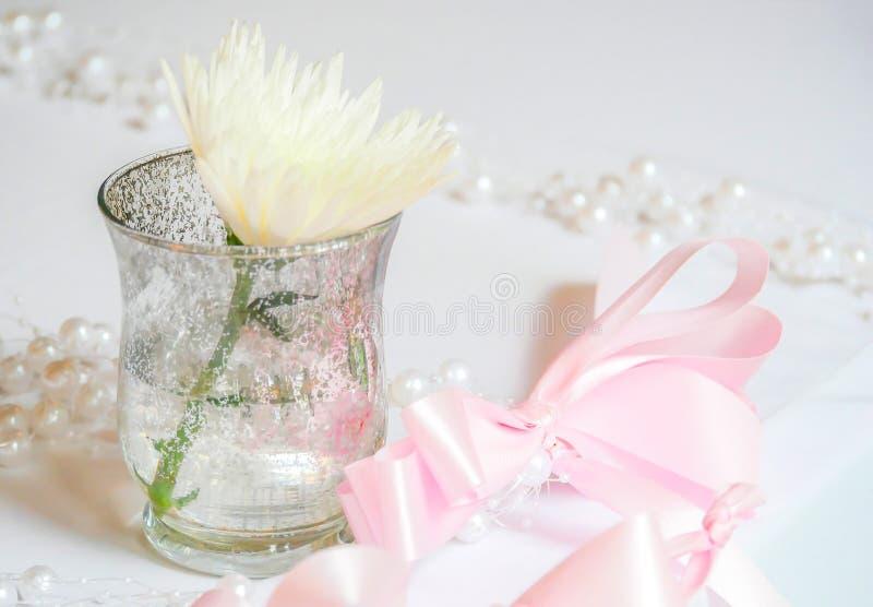 Weiße Blume in einem kleinen Vase und rosa in einem Bogenband lizenzfreie stockbilder