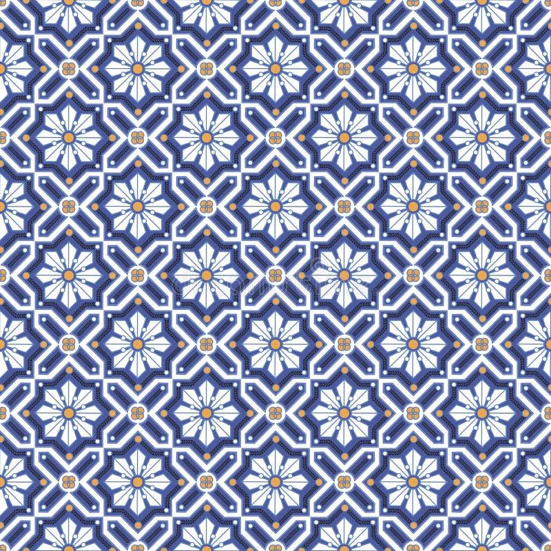 Weiße Blumen in der nahtlosen geometrischen Verzierung der Rauten stock abbildung