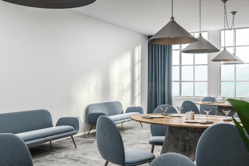 Weiße Caféecke mit blauem Sofa stock abbildung
