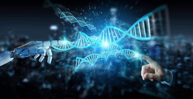 Weiße Cyborghand, die menschliche Wiedergabe DNA 3D scannt vektor abbildung