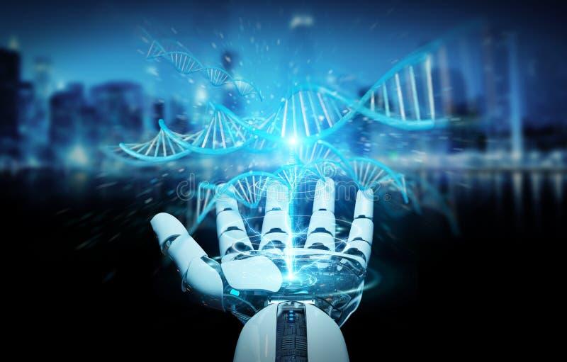 Weiße Cyborghand, die menschliche Wiedergabe DNA 3D scannt lizenzfreie abbildung