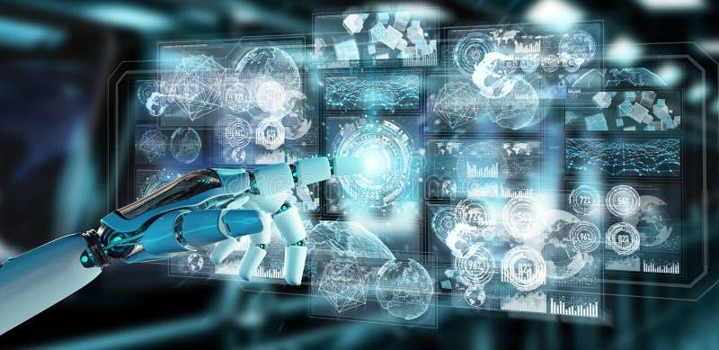 Weiße Cyborghand unter Verwendung der digitalen Daten schließen Wiedergabe 3D an lizenzfreie abbildung