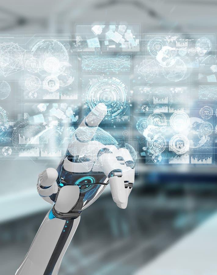 Weiße Cyborghand unter Verwendung der digitalen Daten schließen Wiedergabe 3D an stock abbildung