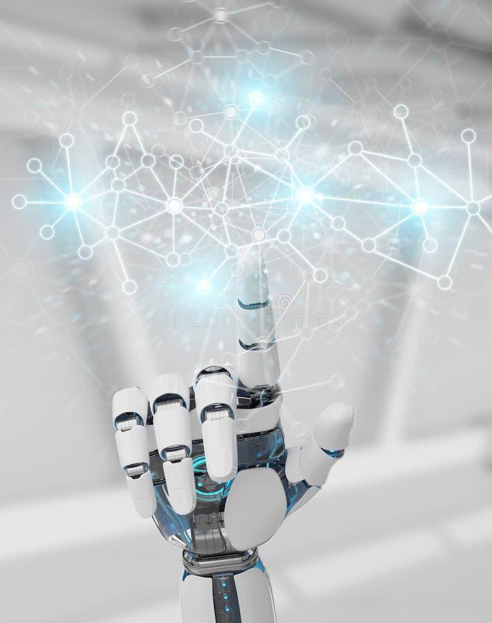 Weiße Cyborghand unter Verwendung der Wiedergabe der Digitalnetzverbindung 3D stock abbildung