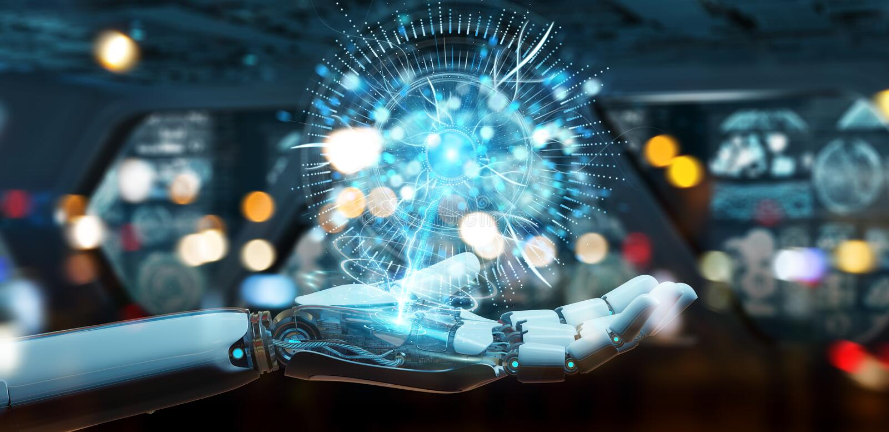 Weiße Cyborghand unter Verwendung des digitalen Augenüberwachungshologramms 3D ren lizenzfreie abbildung