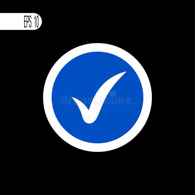 Weiße dünne Linie des runden Zeichens Überprüfen Sie Zeichen, Ikone - Vektorillustration vektor abbildung