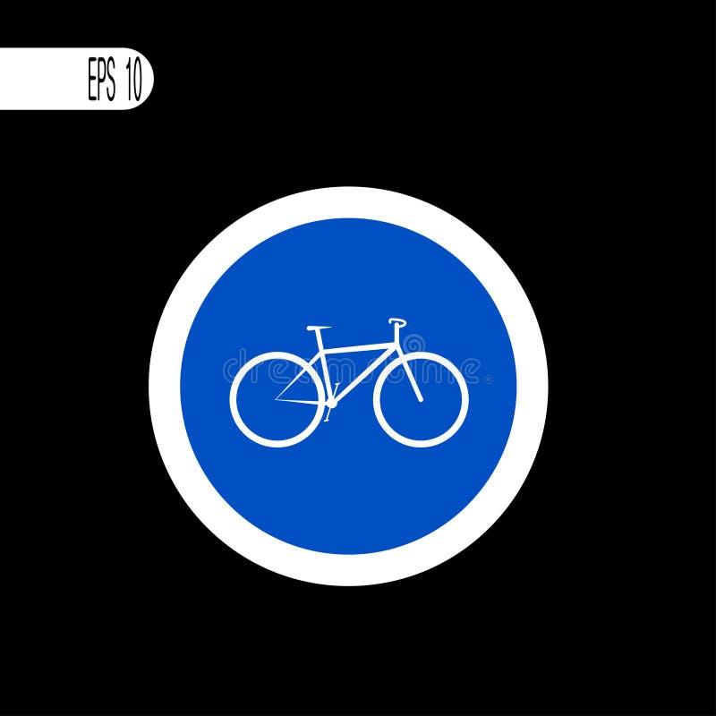 Weiße dünne Linie des runden Zeichens Fahrradzeichenzeichen, Ikone - Vektorillustration lizenzfreie abbildung