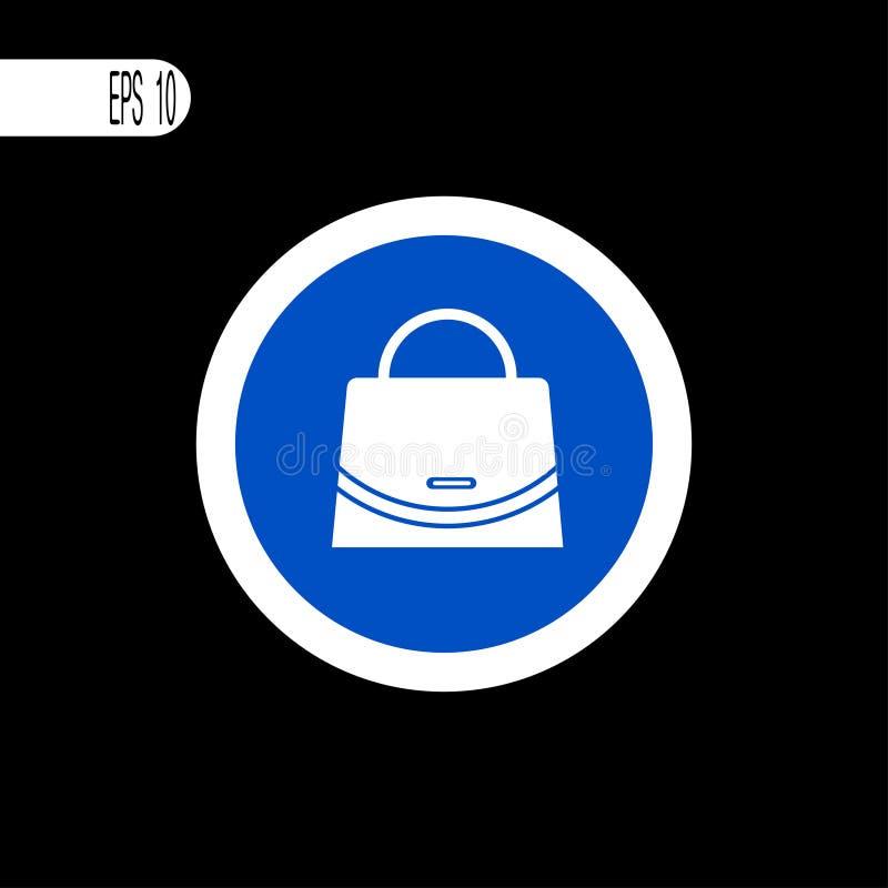 Weiße dünne Linie des runden Zeichens Handtaschenzeichen, Ikone - Vektorillustration lizenzfreie abbildung