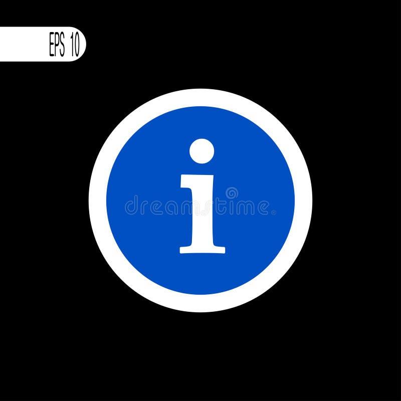 Weiße dünne Linie des runden Zeichens Informationen, Hinweiszeichen, Ikone - Vektorillustration lizenzfreie abbildung