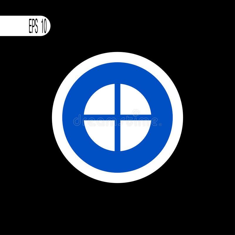 Weiße dünne Linie des runden Zeichens Pluszeichen, Ikone - Vektorillustration lizenzfreie abbildung