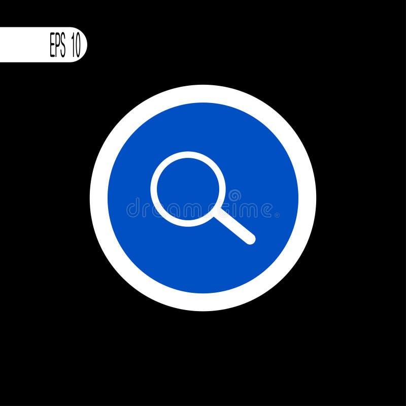 Weiße dünne Linie des runden Zeichens Suchzeichen, Ikone - Vektorillustration vektor abbildung