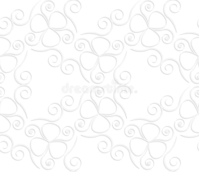 weiße 3D nehmen Strudel und Nelkenblätter ab vektor abbildung
